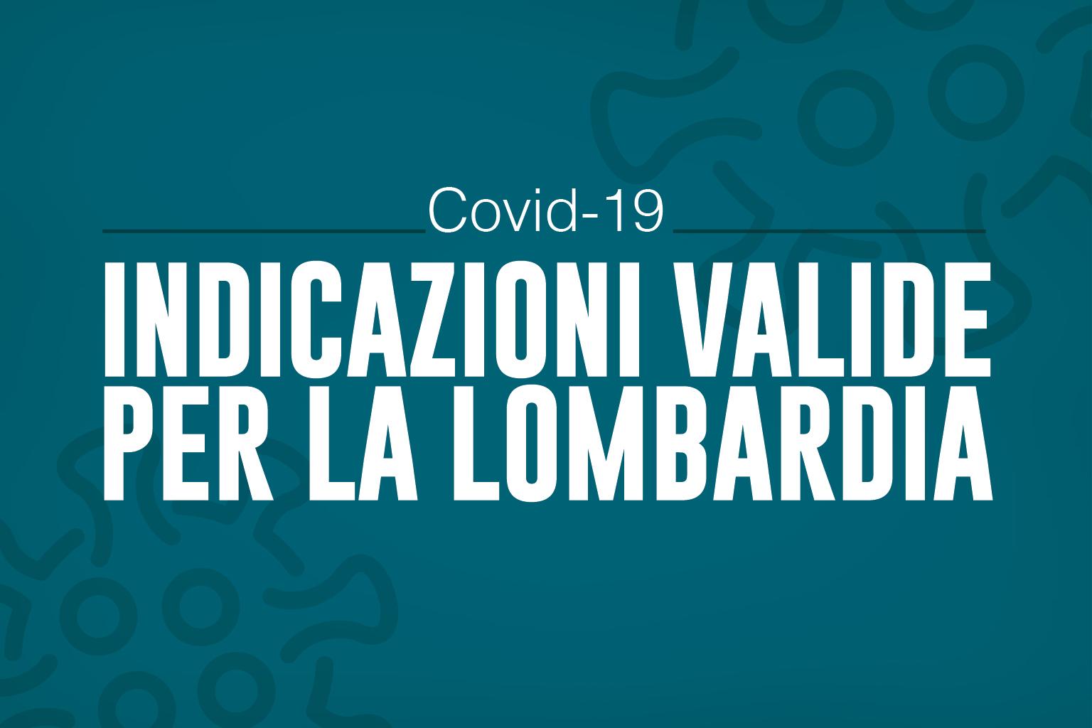 Indicazioni valide per la Lombardia