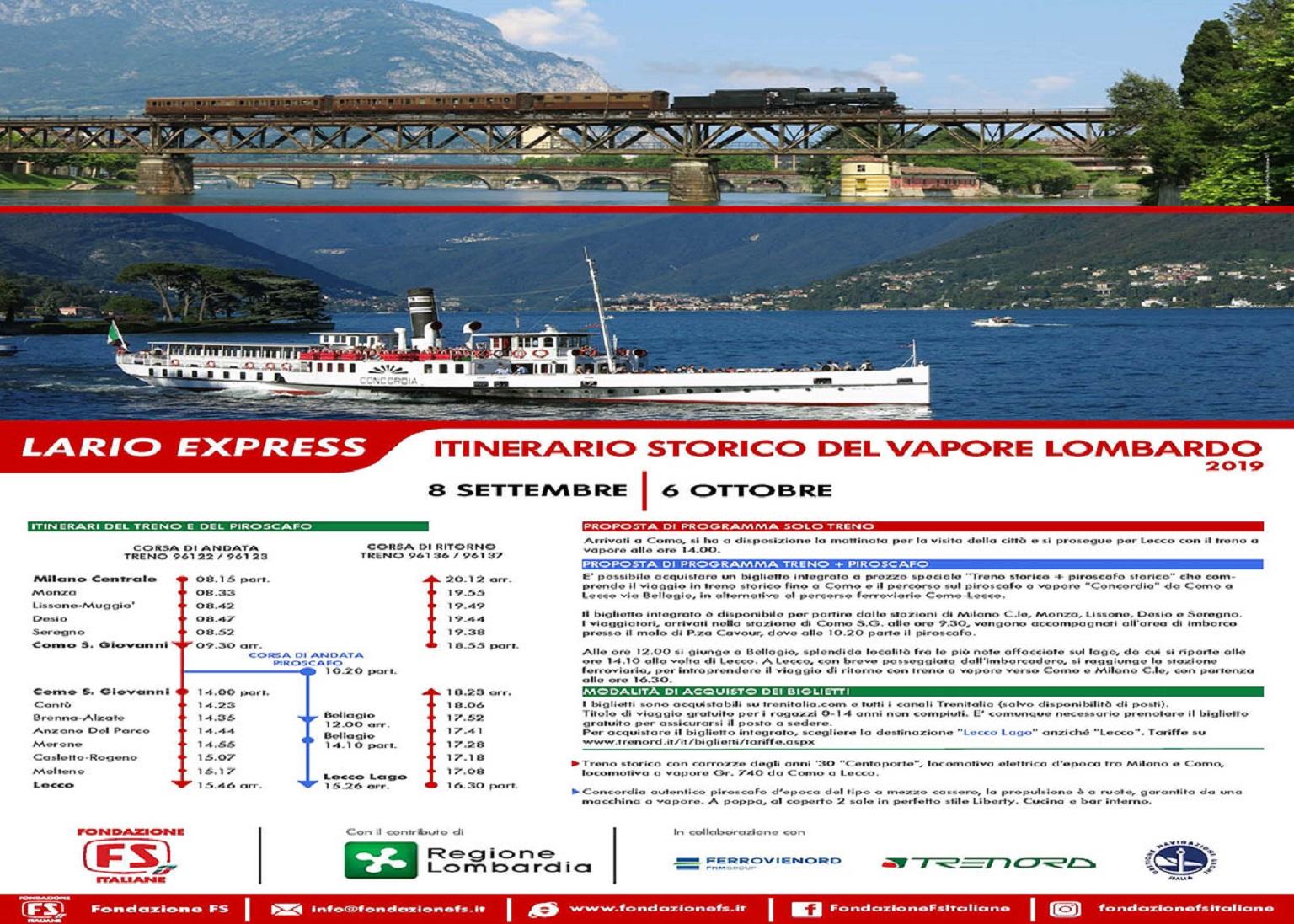 Calendario Treni Storici 2020.Treni Storici Assessore Terzi Lario Express Con Treno E