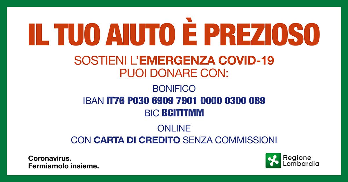 Sostieni l'emergenza COVID-19, il tuo aiuto è prezioso