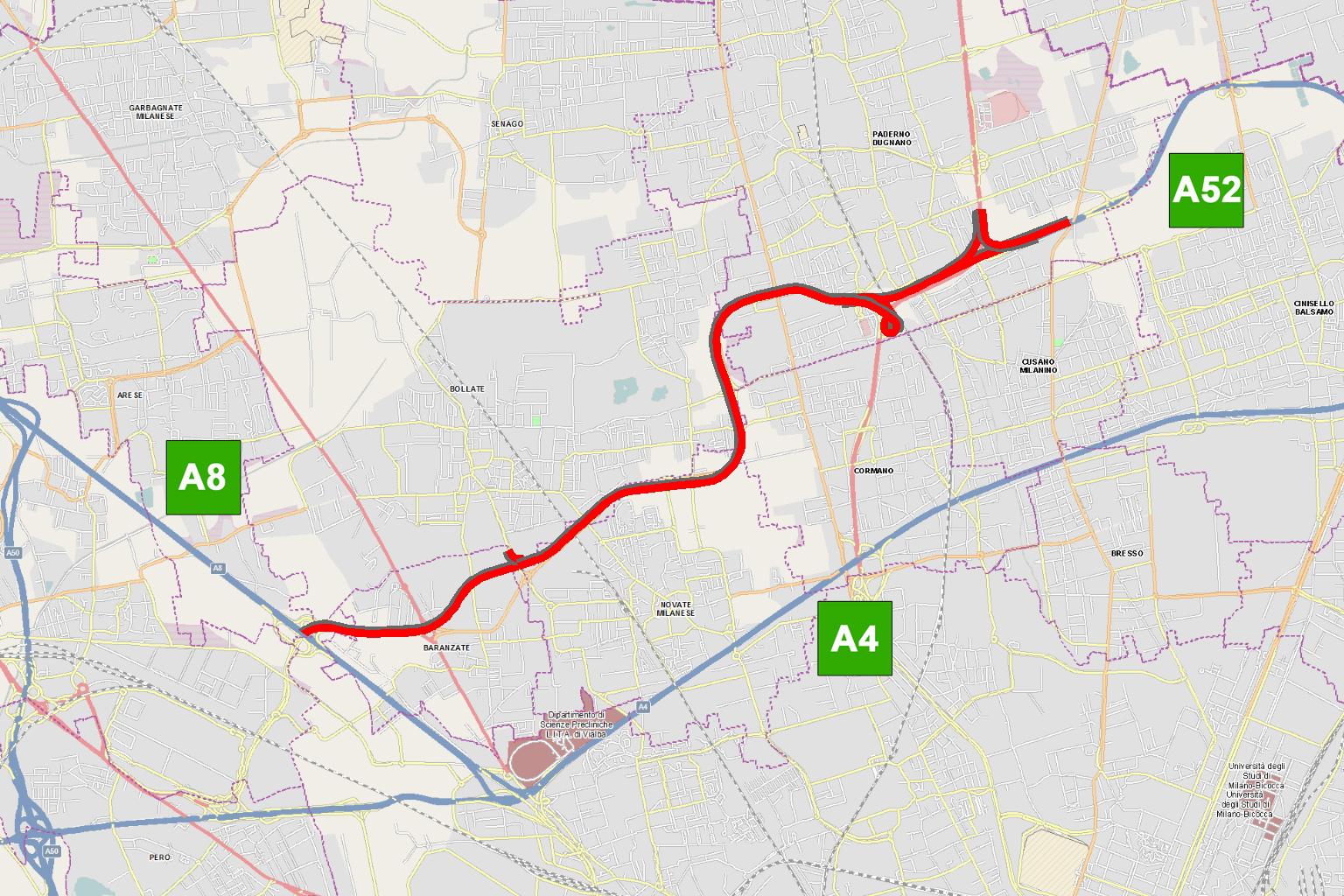 Cartina Autostradale Della Lombardia.Completamento Della Tangenziale Nord Di Milano A52 Rho Monza